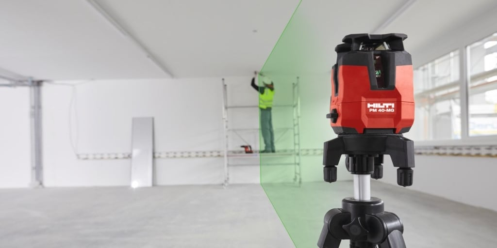 The Hilti PM 40-MG multi-line laser is four times more visible to the human eye.