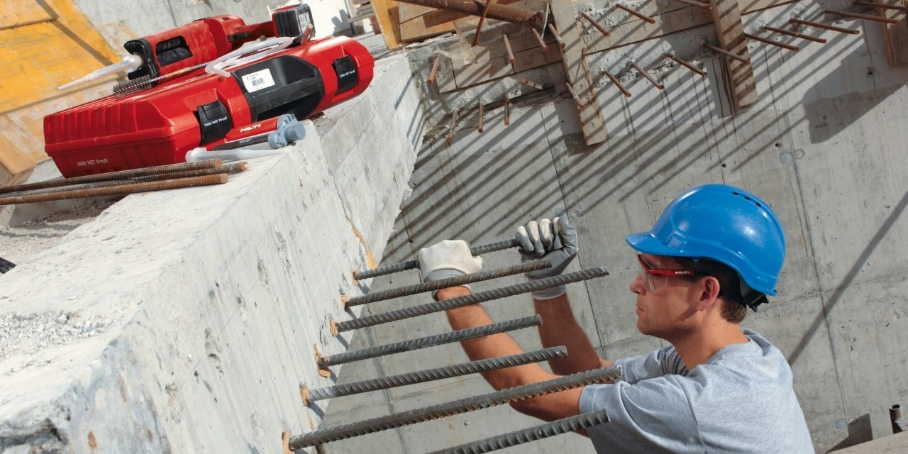 Hilti post installed rebar HIT-HY 150 MAX, ED 3500-A and HIT-V