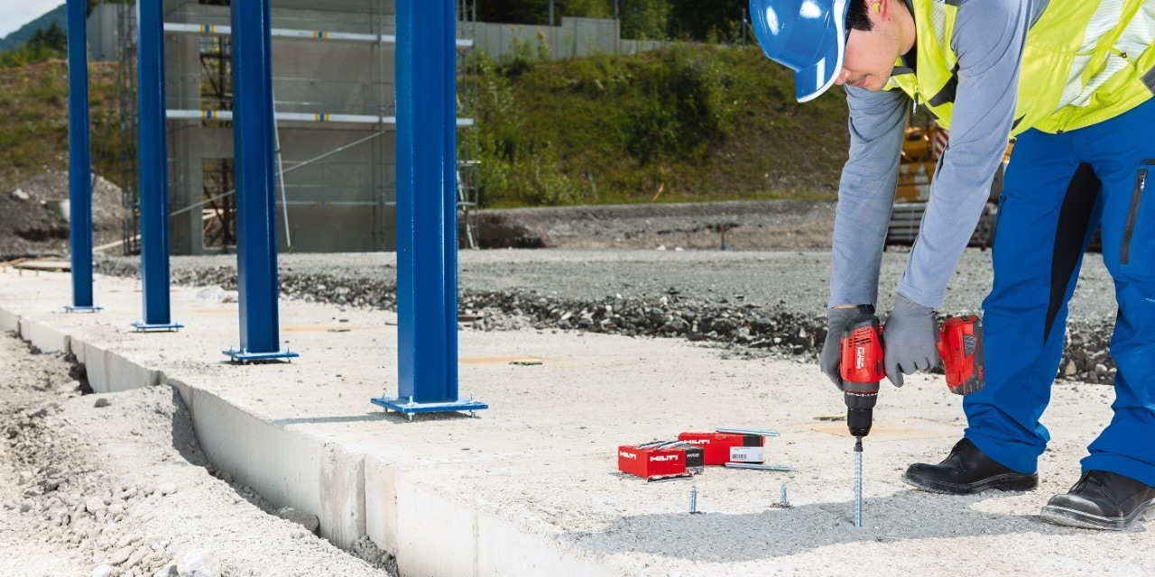 Hilti HVU2 foil capsule anchors are suited for a small number of fixing points